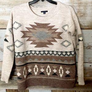 AMERICAN EAGLE Aztec Crewneck Sweater